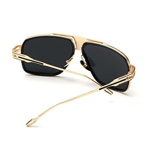 Kimorn Occhiali Da Sole Per Uomo Retro Goggle Cornice metallica Classico AE0336 (Oro&Nero, 62)