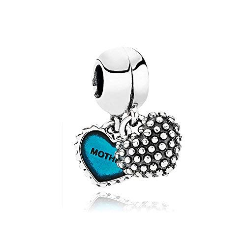 Romu00e1ntico Amor Charm-Anhänger mit Aufschrift Mother & Son, Herz mit Blauer Emaille, 925 Sterlingsilber, passend für europäische Armbänder