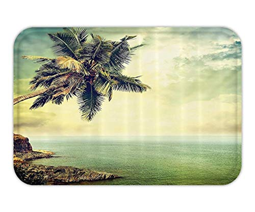 Doormat Beach Hawaiian Decor Palm Tree Rocky Shore Caribbean Mist Honeymoon Traveling Resort Scenic Sun RayImage Bathroom Accessoriewith Hook Long Green.jpg -