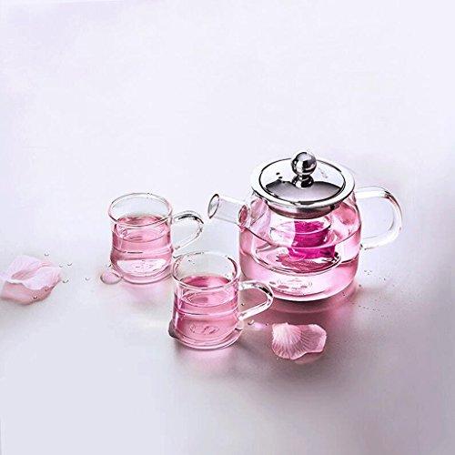 Théière Verre Thé Set Fleur Chaleur Épaissie Filtre Bulle Transparent Kung Fu 400 ML 2 \ 4 Tasses GAODUZI (UnitCount : A)