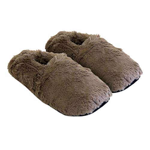 Thermo Sox aufheizbare Hausschuhe für Mikrowelle und Ofen - Mikrowellenhausschuhe Wärmepantoffeln Wärmehausschuhe Wärmeschuhe Fußwärmer Supersoft, Farbe:Schoko, Größe:36/40 EU -