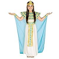 Il costume per bambina/ragazza da Cleopatra, in jersey elasticizzato, chiffon e organza, si compone di un incantevole abito con cintura da allacciare in vita, acconciatura regale, collare e polsini ornamentali ad imitazione di braccialetti, d...