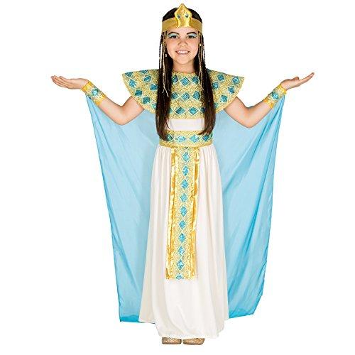 El disfraz de Cleopatra para chica se compone de tela de jersey elástica, chifón y organza y cuenta con un vestido precioso, cinturón, adorno para el pelo tipo corona y cuello y adorno para la muñeca con cierre de velcro, Material: 100% poliéster. Co...