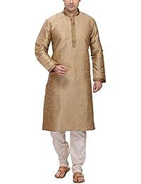 Rg Designers Men's Cotton Silk Gold Kurta Pyjama Set