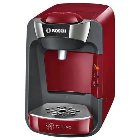 Bosch TAS3203GB Tassimo Suny Coffee Machine 1300 watts Removable 0.8 litre water tank IntellibrewTM System - Patented bar code technology identifies drink selected and adjusts amount of water brewing time and temperature Large variety of high quality hot beverages Immediately ready to brew drinks - virtually no cleaning and no taste transfer - Red/Anthracite by Bosch