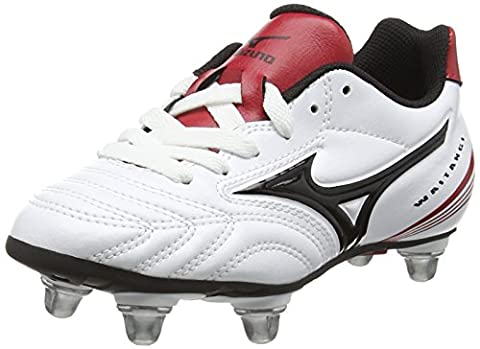 Mizuno Waitangi Jr, Chaussures de Rugby mixte enfant - Blanc - White (White/Black/Chinese Red) - 38 EU ( 5 UK )
