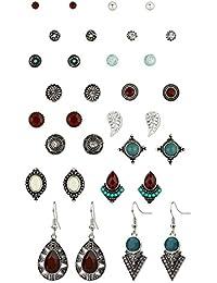 """SIX """"Trend"""" Damen Ohrringe, Ohrstecker, Set aus 16 Paaren, geometrische Formen, orientalisch angehaucht, silber, rot, türkis Weihnachtsgesch (702-262)"""