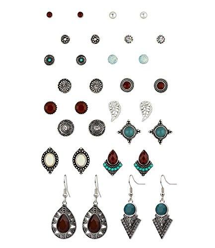 SIX Ohrringe 16er-Set: Modischer Ohrschmuck mit verschiedenen Motiven, 14 Ohrstecker, 2 Ohrhänger, türkis, silber, rot (702-262) (Indianer Kostüm Schmuck Ohrringe)