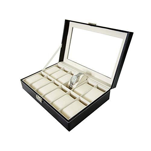 Todeco - Caja de Relojes, Caja de Almacenamiento de Relojes y Pulseras - Tamaño: 30 x 20 x 8 cm - Material...