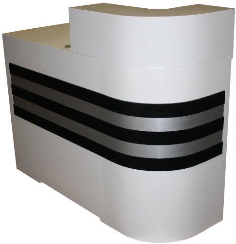 figaro-kombinierbare-rezeptionstheke-rundung-rechts-schleiflack-weiss-streifen-schwarz-silber