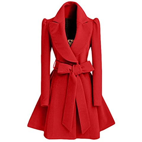 Sunnorn Women's Slim Splicing Turndown Collar Fold Big Swing Long Woolen Coat with Belt Large Red