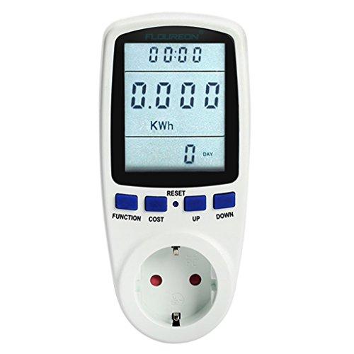 Floureon TS-836A Monitor Medidor de Consumo Eléctrico Energía (0-9999W, 230V-250V, 50HZ, 16A, Pantalla LCD, Gastos de Electricidad)