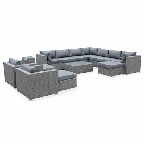 Alice's Garden - Salon de jardin en résine tressée XXL - Tripoli - Gris Coussins gris - 14 places - 2 fauteuils sans accoudoir, 2 méridiennes, 1 fauteuil d'angle, 2 fauteuils individuels, 1 table basse, 1 table d'appoint, 3 poufs