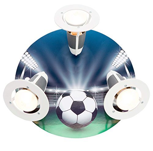 elobra–Lámpara de techo Fútbol Arena, madera, azul/verde, a + +