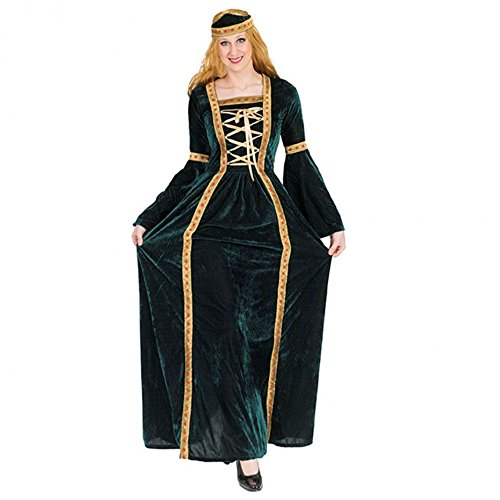 Funny Fashion Hofdame Margaret Kleid lang, 2 Größen, Samtkleid grün Renaissance Kostüm Adlige (44/46)