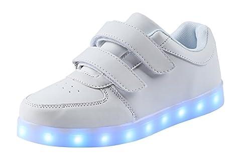 AFFINEST Kinderschuhe LED Sportschuhe USB Aufladen 7 Lichtfarbe Sternen Leuchtend PU Sneaker Turnschuhe(Weiß,27)