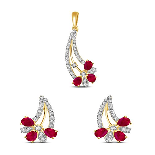 Vijisan Jewellery Set Collection 3.59 Ct.Gold Plated Pure 925 Silver Nice-looking Cocktail Stud Earrings Pendant Set For Women [GUPS0534-Set]  available at amazon for Rs.2007