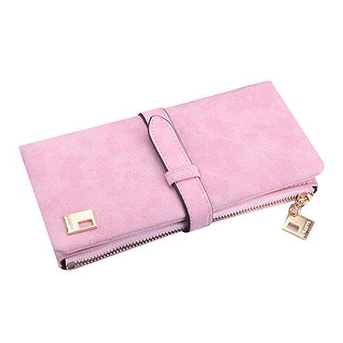 D9Q Frauen Weinlese Bi fold Reißverschluss Kordelzug Nubukleder Lange Handtasche Tasche Wallet !!rosa
