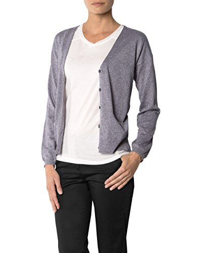 KOOKAI Damen Cardigan Mikrofaser Jacke Unifarben, Größe: T1, Farbe: Grau