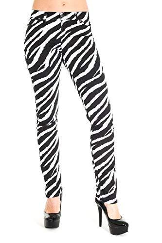 Herren Röhrenjeans Jeans weiß Zebramuster Punk-Rock Glam Indie Retro Vintage 28 30 32 34 36 - weiß und schwarz, 34