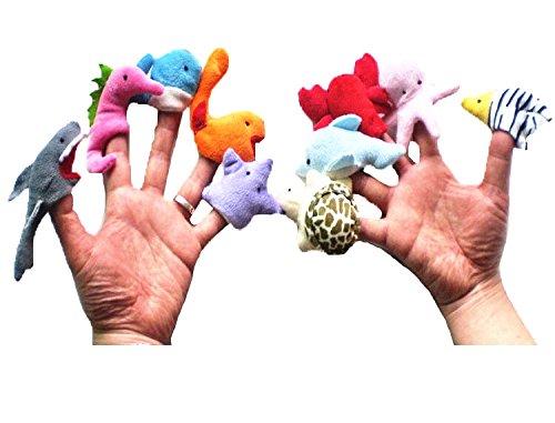 Edealing Marionetas del dedo del Océano conjunto de juguete suave felpa lindo Kids Learn Juega Story Animal 10pcs