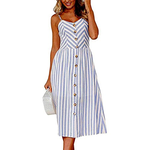 Maxikleider Sommer,SANFASHION SANFASHION Damen Mode Sommerknöpfe Striped Off Schulter Ärmelloses Prinzessin Kleid (L, Blau 2)