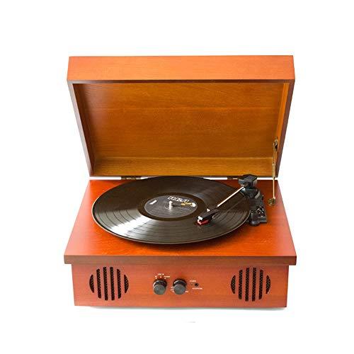 Exquisite Vintage Braun Vinylschallplatte Maschine Das Auftreten Von Massivholz-Box Dreieckigem Aluminiumtube Bewegung RubinAufnahmeFunktion PH / INT / BT Bluetooth Stereo Schallplatte Spieler, Tragba