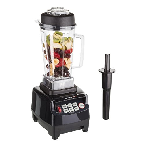 Ultratec 331400000120 Batidora de Vaso Profesional de 2 litros/sin BFA / 1500 W / 22 000 RPM / 6 Cuchillas de Acero Inoxidable/con majadero/Incluye Libro de Recetas de Smoothies, Plástico, Negro
