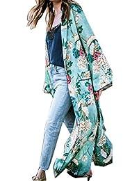 8bf516bbd8 Sixcup Long Kimono Dressing Gown Floral Peacock Maxi Kimono Cardigan Robe  for Women Wedding Girl s Bonding