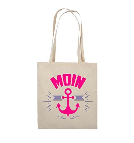 Comedy Bags - MOIN - ANKER - Jutebeutel - lange Henkel - 38x42cm - Farbe: Schwarz / Weiss-Neongrün Natural / Pink-Violet
