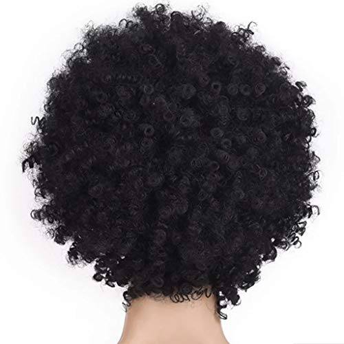 Maxpex Onefa Kunsthaar-Perücke für Damen, lockig, kurz, Afroperücke, afrikanische amerikanische Perücke, sexy Naturhaarperücke, schwarz (American Girl Puppe Verwendet)