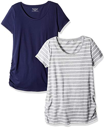 Navy Mutterschaft Tee (Motherhood Maternity Damen Bumpstart 2 Pack Short Sleeve Tee T-Shirt, Navy/Grey/White Stripe, XL)