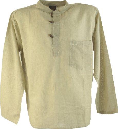 Guru-Shop Nepal Fischerhemd Goa Hippie - Moosgrün, Herren, Leinen, Baumwolle, Size:L, Männerhemden Alternative Bekleidung