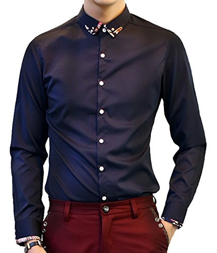 DD UP Herren Koreanische d¨¹nne Temperament Grund Solid Color Langarm-Hemd Dark Blue