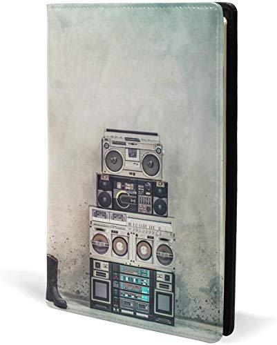 Retro altes Design Ghetto Blaster Boombox Radio Buchumschläge Leder Schule Büro Notebook Lehrbücher Taschenbuch Hardcove A5 5,8 \'x 8,7\' für Mädchen Jungen