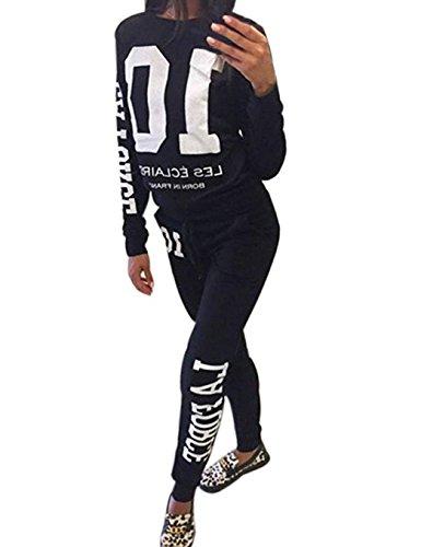 Damen Jogginganzug Langarm Anzug Pullover Sportanzug Trainingsanzug Sweatshirt Anzug mit Hose 2pcs (Schwarz, L/EU38) (Trainingsanzug Langarm)