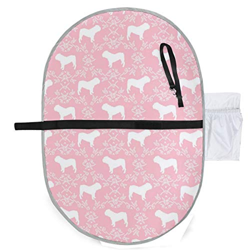 Urine pad Portable Diaper Changing Mat,English Bulldog Floral Silhouette Pattern Pink Mattress Sheet Protector Pee Pads Urine Mat for Baby