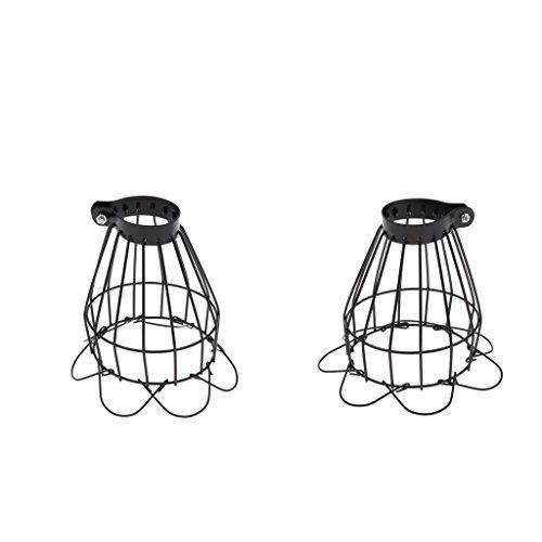 Homyl 2 Stück Metall Lampenschirm Schutzkorb für Terrarien-Lampen, Schwarz