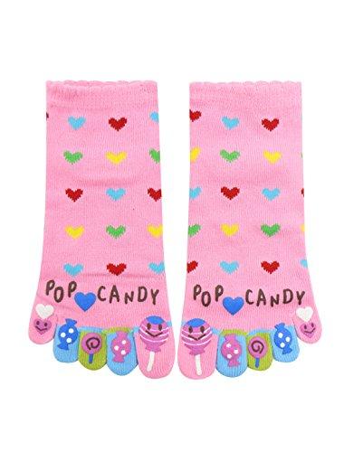 sourcingmap® Damen Buchstabe Herz Candy Muster Knöchel Lang Zehe Socken Gr. 9-11 (Low-knöchel-socken 11)