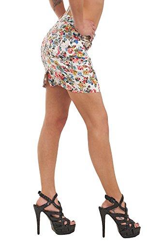 10040 Fashion4Young Damen Stretch-Stoff -Minirock Rock skirt verfügbar in 5 Größen 4 Farben Weiß Multicolor