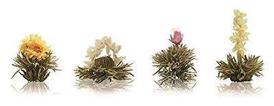 Mix de fleurs de thé Creano Biologique - « Floraison » dans un cadeau élégant pour essayer Thé blanc (8 pièce, en 4 sortes différentes de roses de thé)
