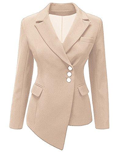 ZhuiKun Damen Blazer Slim Anzug Unregelmäßige Mantel Jacke Oberteil Kaki 2XL