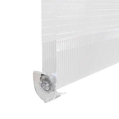 Homelux Doppelrollo Duo-Fensterrollo Klemmträger Kettenzug Seitenzug 50 x 100 cm Weiss - 6