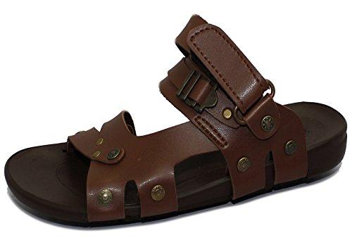 Herren Synthetik Leder Sommer Sandalen Jungen Walking Casual flach rutschfest auf Flip Flop Gladiator Camel