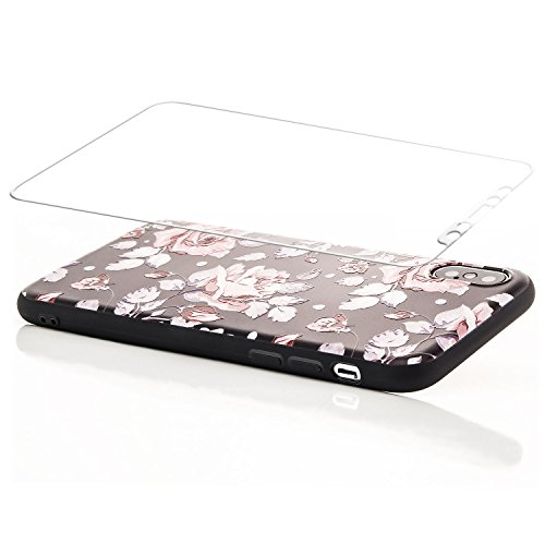 zanasta Schutzhülle iPhone X Hülle + 3D Panzerglas Case Back Cover TPU Silikon Flexible Ultra Slim Schutz Handyhülle mit Motiv Blumen / Rosen mit Schrift (Glas Weiß) Rosen