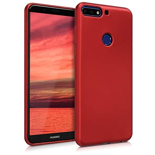 kwmobile Huawei Y7 (2018)/Y7 Prime (2018) Hülle - Handyhülle für Huawei Y7 (2018)/Y7 Prime (2018) - Handy Case in Metallic Dunkelrot