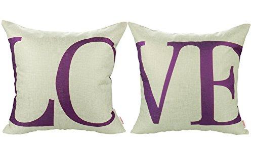 Luxbon 2x Lila Love Wort dauerhaft Leinen Kissenbezug mit Reißverschluss Sofa Büro Dekokissen 45x45 cm