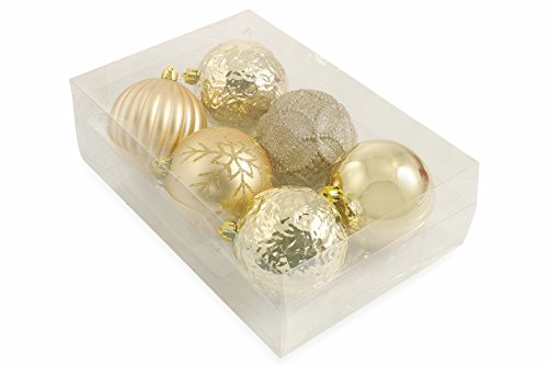 Galileo casa 2411638 set 6 palle decorate di natale, pvc, oro, 10x10x10 cm