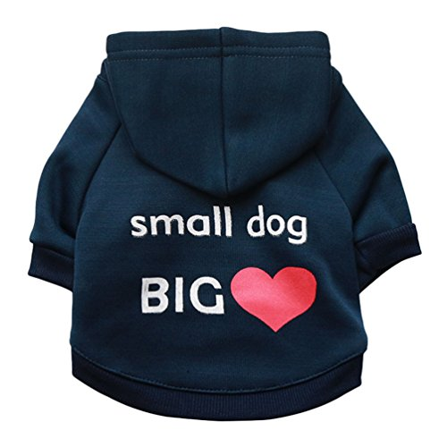 YiJee Haustier Hoodie Bekleidung Drucken T-Shirts Welpe Hund Katze Warm Sweatshirts Navy S