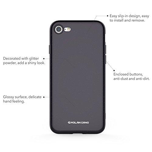 iPhone 8 Coque / iPhone 7 Coque, Molan Cano [Jelly] Housse de Protecteur en Caoutchouc Souple TPU Pour Amortisseur de Protection Mince pour Apple iPhone 8 (2017) et iPhone 7 (2016) - Briller Noir Briller Noir